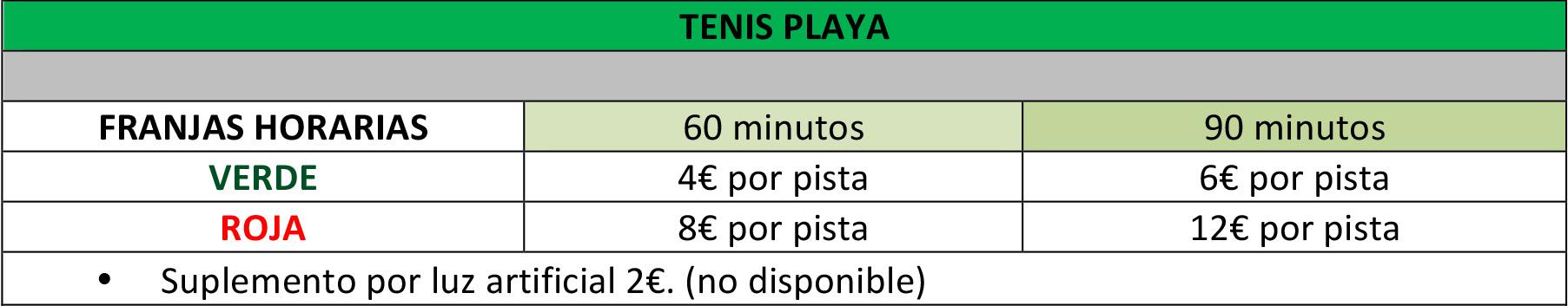 precio alquiler pista tenis playa